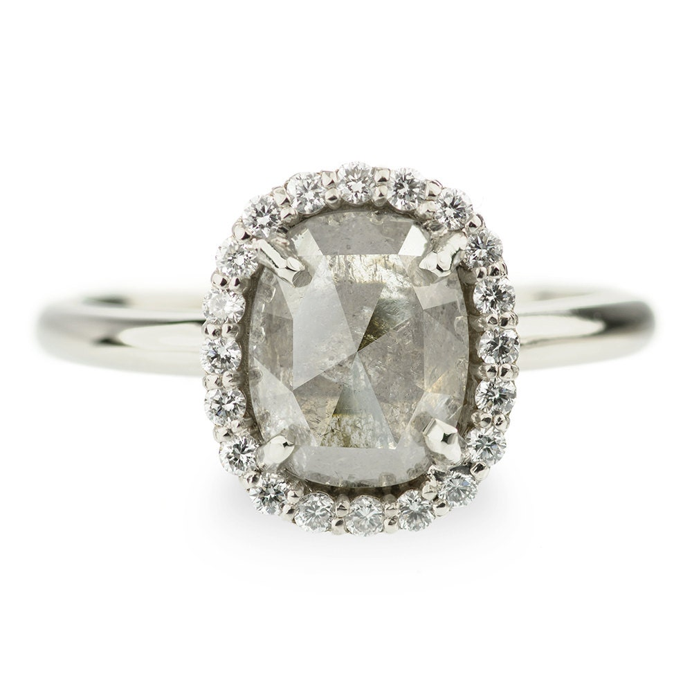 1 51 Carat Grey Diamond Halo Engagement Ring by PointNoPointStudio