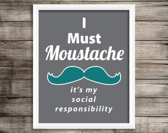 "Modern Teal Moustache ""Movember"" Wall Art ~ Digital Download"