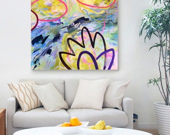 "Large abstract art, original painting, acrylic painting, pink, floral art, contemporary art, wall decor, 48"" x 48"", - FREE SHIPPING"