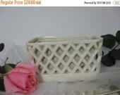 20% Heart Sale Vintage White Lattice Work Flower Vase Planter Box- Home & Bathroom Decor