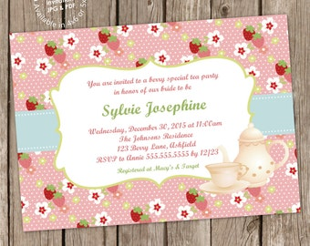 Strawberry Tea Party Bridal Shower/ Baby Shower Invitation Digital Printable, ANY wording
