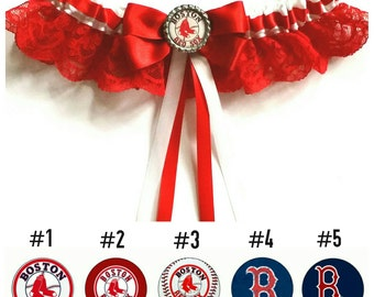 Boston Red Sox Baseball Satin/Satin and lace/Garter Set- Your choice of embellishment.