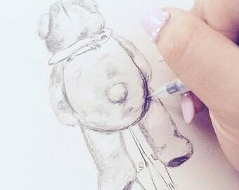 Bear Hug - Original, Hand Drawn