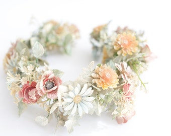 Large Hair Wreath. Wax Floral Crown., Halo. / Pastel Head Piece.  Hippie Wedding. Vintage Floral Hair Accessories. // Adjustable, One Size