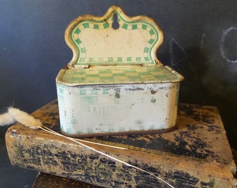 French Antique distressed  Match Box .Tin Box Kitchen decor. Art Deco Storage. Kitchen Canister. Kitchen Decor.