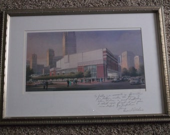 """1995 Detroit Opera House Print,Signed and Numbered 19/250, """"To Pablo Elvira from David DiChiera""""-Handwritten Note and Signed & Framed"""