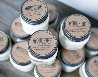 PICK YOUR SCENT Wood Wick Mason Jar Soy Candle, rustic decor, gift ready, wood wick, crackling