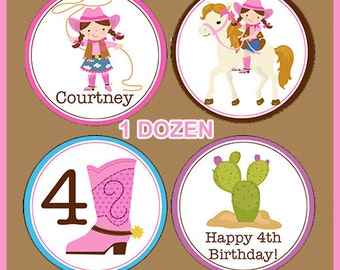 Cowgirl western Horse Edible cookie toppers cupcake tops party decoration birthday tranfers 1 dozen