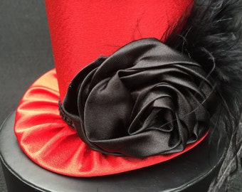 Red Satin Mad Hatter Mini Top Hat for Dress Up, Birthday, Tea Party or Photo Prop