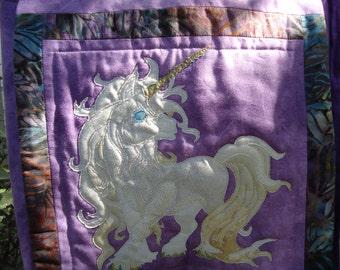 Unicorn Purse / Quilted Unicorn / Fantasy Art / Hand Made