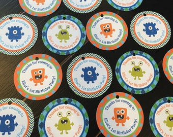 LITTLE MONSTER Happy Birthday or Baby Shower Favor Tags or Stickers One Dozen {Set of 12} - Party Packs Available