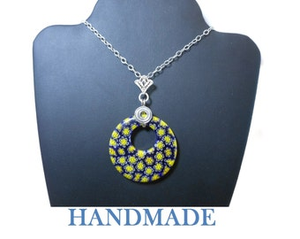 Millefiori glass pendant, 40mm round dark blue with yellow flowers, round go-go on sterling silver filigree bail and sterling chain