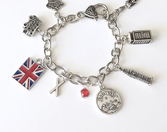 Personalized London's Calling Bracelet with Your Initial, Zodiac and Birthstone