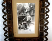 Gothic Metal Picture Frame Antique c. 1910  Picture of Child with Wagon Shabby Chic Home Vintage Decor Photos  Frames Antiques Rustic