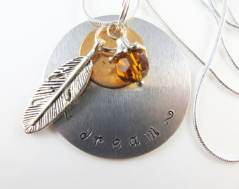 Hand stamped - dream - necklace