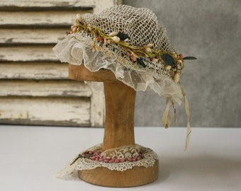 Vintage French Dressed Wooden Hat Block....Dressed in Antique Nightcap, Antique Lace Collar, Pink Rosary, Floral Crown...Nordic Living.
