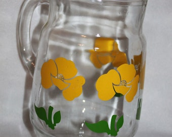 Vintage Anchor Hocking Yellow Flowers 2qt. Glass Pitcher