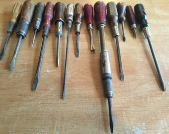 Vintage Collection of 13 Wooden Handled Screwdrivers
