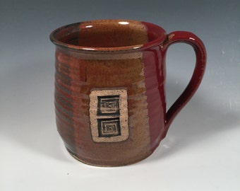 Mug -  Coffee  - 16 ounce - Ready to Ship - Red Jasper  - Greek Key Stamp  - ceramics - pottery - stoneware