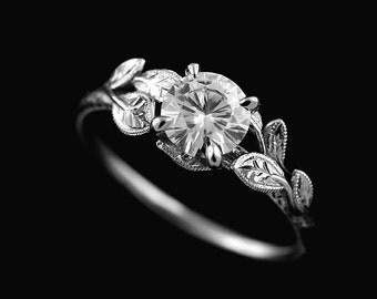 Cutsom Order: 14K White Gold Nature Inspired  Forever One Moissanite Leaves Accent Engagement Ring