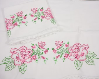 Vintage Embroidered White Pillowcases   Rosy-Pink Roses