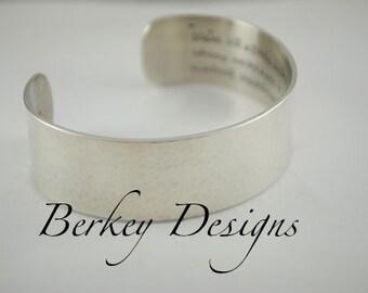 Sterling Keepsake Custom Quote/Poetry Hand Stamped Custom Secret Message Cuff