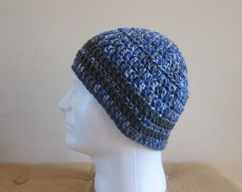 Blue and Grey Wool Beanie, Crocheted Wool Beanie for Men, Mans Wool Beanie, Wool Beanies, Mens Blue Winter Hat, Crochet Wool Hat, Blue Hats