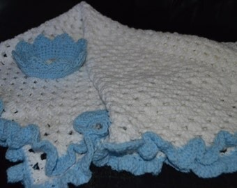 Crocheted  Granny Square Baby Afghan with Crown