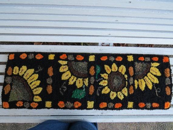 Sunflowers Hooked Rug