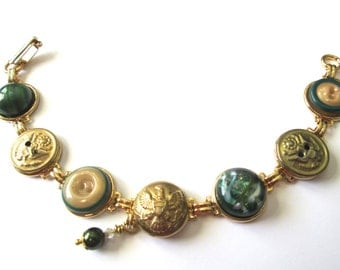 ARMY antique button bracelet. 1800s buttons, Army greens. One of a kind