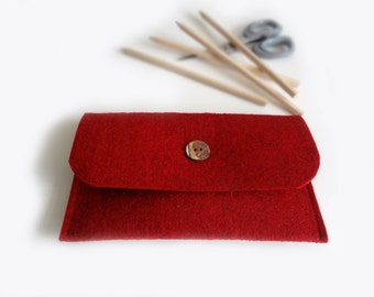 Red felt pencil case, cosmetic bag in black felt hight quality - pencil case pouch