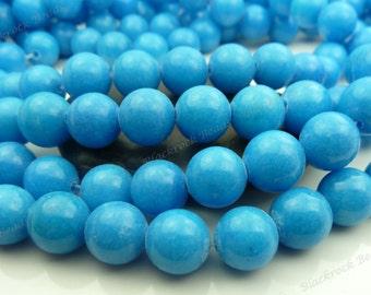 10mm Turquoise Blue Mashan Jade Round Gemstone Beads - 16 Inch Strand - BB32