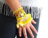 Crochet cuff bracelet, Handmade Beaded Cuff Bracelet - Wrist Cuff - Birthday Christmas Gifts for Teen Girls, Gifts for Women, bestfriends