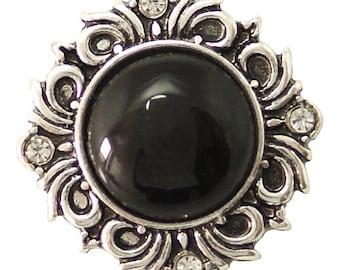 1 PC 18MM Black Glass Silver Snap Candy Charm kb6492 CC1639