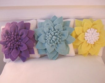 "4"" flower pillows for 18"" dolls three color choices purple blue yellow RTS"