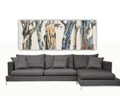 Extra LARGE Wall art long canvas Print trees landscape artwork pastels white living room bedroom office home decor giclee