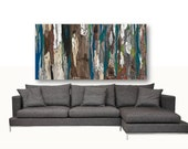 VERY LARGE Wall Art Extra large painting Print long tree canvas dining room Blue Gray brown Abstract Landscape living room bedroom Artwork