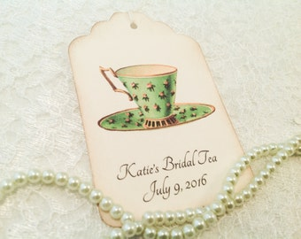 Teacup Bridal Favor Tags- Floral Tea Party Favors-Green Teacup Tags-Gift Tags-Set of 12