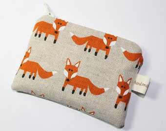 Fox purse, coin purse, change purse, with foxes, woodland purse