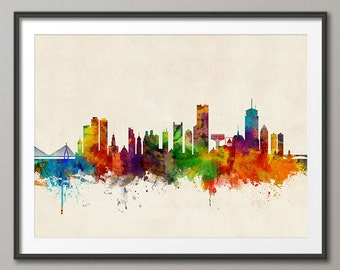 Boston Skyline, Boston Massachusetts Cityscape, Version 2, Art Print (2321)