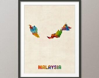 Malaysia Watercolor Map, Art Print (2364)