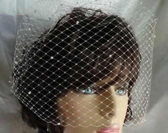 Wedding Veil, Birdcage Veil, Pearl Accent Veil, 12 Inch Veil, Bridal Accessory, REX1009-P 12