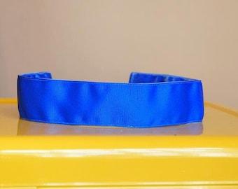 "no Slip Headband Solid Grosgrain NEON Blue 1.5"""