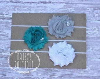 Set of 3- Grey, Teal and White Pearl Headband Set/ Shabby Flower Headband/ Newborn Headband/ Baby Headband/ Flower Girl/ Photo Prop