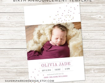 Digital Birth Announcement,  Modern Baby Announcement, Baby Girl, Baby Boy, Customizable Design