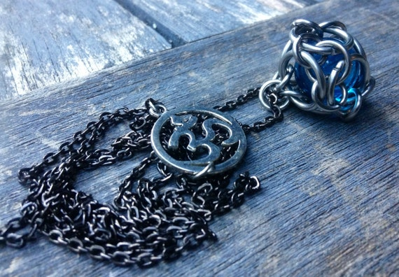 Blue Marble Chainmaille Necklace