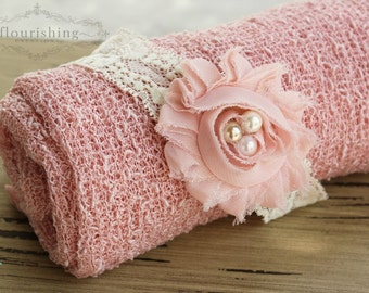 Ready to Ship- Blush Stretch Knit Wrap Headband Set, newborn wrap, photography prop, newborn prop set, stretch knit wrap