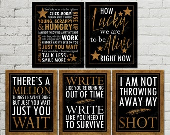 Printable Set of Hamilton Musical Inspired Quotes Subway Art Word Art Typography Poster, Hamilton Fan Art,  11x14 INSTANT DOWNLOAD