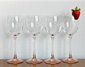 French Wine Glasses Pink Stemmed Rose Quartz Stems Vintage Barware Made in France Valentines Day Decor