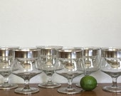 Vintage Dorothy Thorpe Silver Band Crystal Seafood Glasses With Inserts Set of Six
